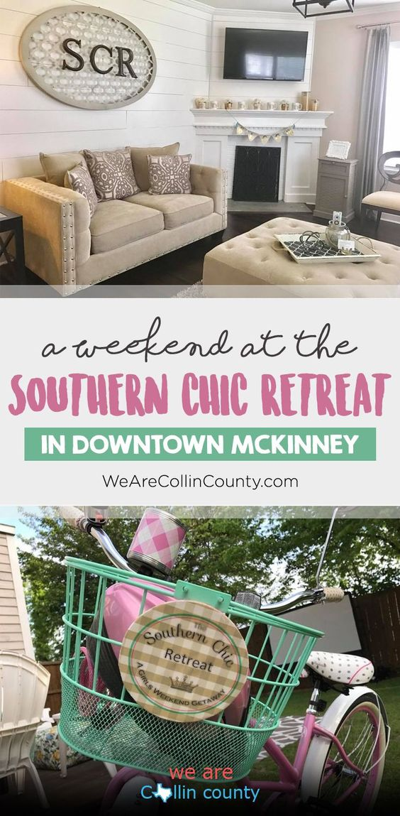 Craftcation in Dallas called The Southern Chic Retreat is located in adorable downtown McKinney. Its the perfect place for all things crafty and your girls weekend #craftcation #texas #visittexas #McKinneytexas #mckinneytx #southernchic #retreat #girlsweekend #joannagaines
