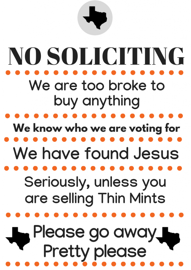 image relating to No Soliciting Printable called No cost No Soliciting Signal - We Are Dallas Fort Well worth